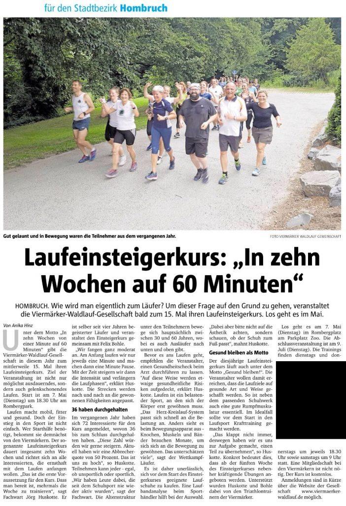 Pressetext RN vom 04.04.2019: Laufeinsteigerkurs: In 10 Wochen auf 60 Minuten